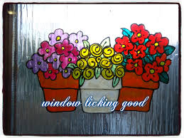 Large Spring Flowers Growing In Pots Faux Stained Glass Window Cling Sticker Decal Mirror Or Smooth Surface Decor Sold By Window Licking Good On Storenvy