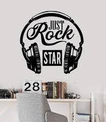 Vinyl Wall Decal For Just Rock Star Music Lover Headphones Stickers 2 Wallstickers4you