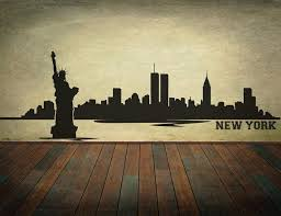 New York City Skyline Wall Decal Vinyl Wall Art Skyline Sticker Choose A Size Wall Decor Mural Wall Graphics City Skyline
