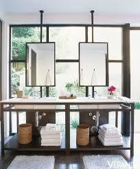 bathroom vanity in front of window