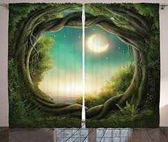 Kids Curtains Decor By Ambesonne Trees In Enchanted Forest Full Moon Artistic Artwork Girls Boys And Family Living Room Bedroom Window Drapes 2 Panel Set 108 W X 90 L Inches