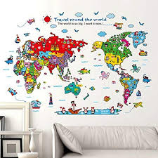 Amazon Com Kiki Monkey Cartoon Background Colorful English Words World Map Wall Art Decals Stickers Vinyl For Kids Rooms Parlour Television Wall Home Colourful Home Kitchen