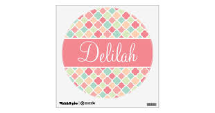 Quatrefoil Name Pastel Pink Green Wall Sticker Zazzle Com