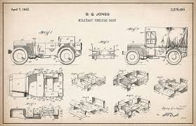 Patent Drawing for the 1942 Willys JEEP Military Vehicle Body by Byron Q.  Jones Digital Art by StockPhotosArt Com