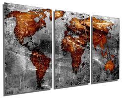 Copper Gray World Map Metal Print Wall Art 3 Panel Split Triptych Hd Aluminum Contemporary Metal Wall Art By Canvas Quest