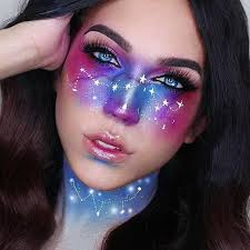 galaxy face makeup creates the swirling