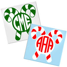 Candy Cane Monogram Decal For Cup Tumbler Glass Decals By Adavis