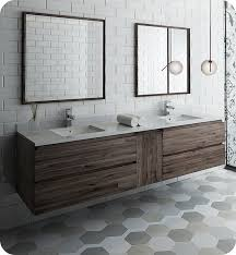 wall hung double sink modern