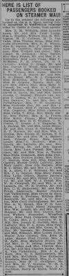 19250723 Miss Ada S Prefumo booked passage on steamer Maui to Hawaii.  Honolulu Star-Bulletin p26 - Newspapers.com