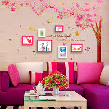 Pink Cherry Blossom Wall Decals With Tree And Butterfly American Wall Decals