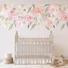 Delaney S Blush Pink Nursery Decor Girl Wall Mural Pink Flowers