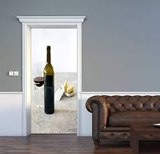 Amazon Com Door Decal Wine And Cheese Marble Pattern 3d Door Sticker Removable Self Adhesive Vintage Wall Decal Mural Wallpaper For Home Decor 30 3 W X 78 7 H Home Kitchen