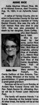 Addie Wilson Rice - Newspapers.com