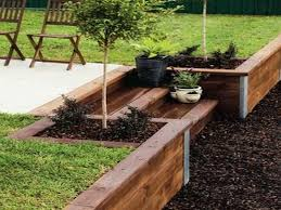 patio and timber retaining wall how
