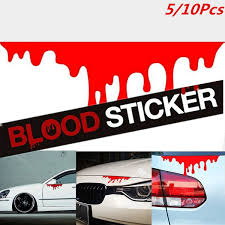 5 10pcs Red Blood Car Stickers Reflective Car Decals Light Bumper Body Sticker Decal Wish