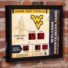 West Virginia Mountaineers 23 X 18 Bluetooth Scoreboard Wall Clock