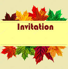 Invitation Card On The Day Of Thanksgiving With Maple Autumn Lea