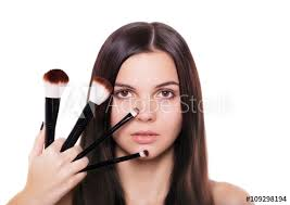 beauty with makeup brushes