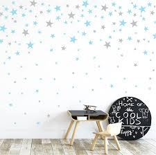 Amazon Com Grey And Light Blue Stars Wall Vinyl Decal Decor Nursery Adhesive Star Stickers For Kids Baby Nordic Stars Bedroom Decoration Arts Crafts Sewing