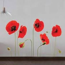Vibrant Red Blooming Poppy Wall Stickers Long Green Stems Floral Wall Decal Gorgeous Home Decor Floral Wall Decals Flower Wall Stickers Decal Wall Art