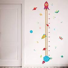 Topfire Lovely Rocket Growth Chart Wall Stickers Kids Room Decoration Children Height Measure Diy Home Decals Nursery Decor