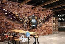Brick Wall With Medieval Metal Armour With Metal Modern Wings Art Wall Idecoroom