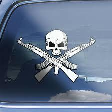 Ak 47 Crossbones Decal Kalashnikov Kalash Russian Ak47 7 62x39 Skull Sticker For Sale Online Ebay