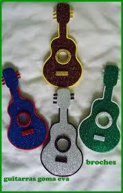 Broches De Guitarras En Goma Eva Souvenir Goma Eva Molde De