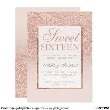 Faux Rose Gold Glitter Elegant Chic Sweet 16 Invitation Zazzle