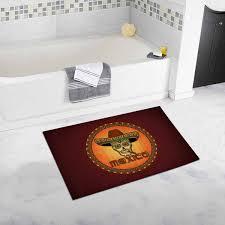 Two Cute Cartoon Frogs On Orange Kids Bath Rugs Non Slip Indoor Kids Bath Mat