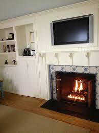 gas fireplace flat screen mini fridge