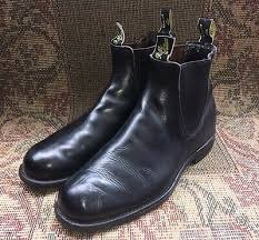 black leather slip on boots size