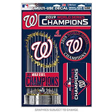 Amazon Com Wincraft Washington Nationals 2019 World Series Champions Decal Sticker Sheet 11 X 17 Sports Outdoors