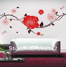 Free Shipping Removable Vinyl Red Rose Flowers Wall Stickers 160 70 Cm Wall Art Decals Home Decoration Home Decor Flower Wall Stickerwall Sticker Aliexpress