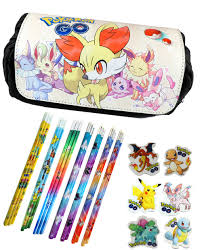 Pokemon Pencil Case Fennekin & Eevee Evolutions with 3 Pokemon Pencils and  Erasers - Black - Walmart.com - Walmart.com