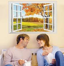 Home Decor Wall Sticker Nature Removable Fake Window Wall Pictures For Living Room Adhesive Wall Arts Fake Window Wall Stickerdecorative Wall Stickers Aliexpress