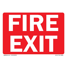 Osha Fire Exit Sign White Text On Red Background Vinyl Decal Protect Your Business Walmart Com Walmart Com