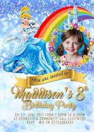 Personalizado Disney Princesa Cenicienta Invitaciones Para Fiesta