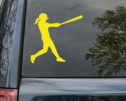 Female Softball Batter Vinyl Decal Sticker