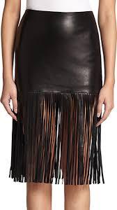 theperfext mimi leather fringe skirt