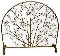 fireplace screen arched top branch and