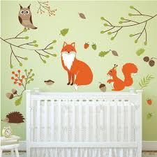 woodland animals fox owl wall sticker set