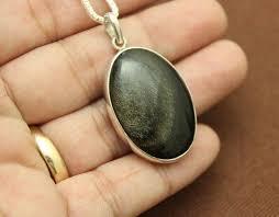 golden sheen obsidian pendant
