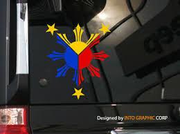 Filipino Vinyl Car Decal Sticker 5 H W Philippine Flag Theme 3 Colors Ebay