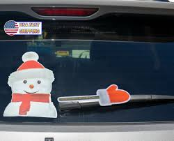 Rear Vehicle Car Window Moving Wiper Blade Tag Decal Sticker Snowman For Sale Online Ebay