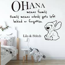 Cartoon Ohana Lilo And Stitch Quote Wall Sticker Nursery Kids Room Large Anime Family Love Quote Wall Decal Playroom Vinyl Decor Buy At The Price Of 6 12 In Aliexpress Com Imall Com