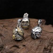 sterling silver 925 punk skull pendant