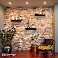 create a faux stone accent wall using
