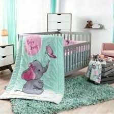 gray girl nursery crib bedding set