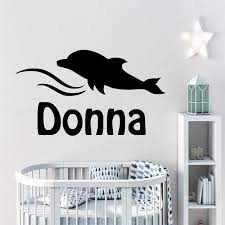 Dolphin Customized Kids Name Wall Stickers Vinyl Wall Decal Personalized Boy Girl Name Wall Sticker For Bedroom Nursery Removable Wall Stickers For Kids Rooms Removable Wall Stickers Nursery From Onlinegame 11 31 Dhgate Com